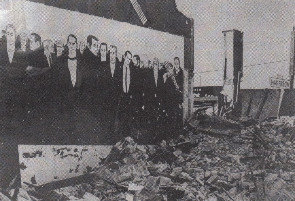 Chuck Arnett mural at the Tool Box. Photograph by Mike Kelley 1975