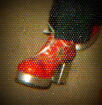 The low spark of high heeled boys. My red platforms, 1972.