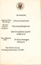The place setting menu for the State Dinner where Pablo Casals played. He'd previously performed at the White House in 1904 but vowed never again after the US recognized the Franco regime. Jackie coaxed him back. There's a coffee stain on the back which leads me to believe this was Ethel's.