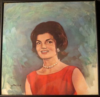 """The Speeches of Jaccqueline Kennedy at Home and Abroad."" The title of this record album is a little misleading because 40% of it is orchestral filler, 58% is a man narrating the story of her life and 2% is her speaking. When children in India hand her some drawings she responds ""they're absolutely lovely."" That's about it. Pericles she was not."