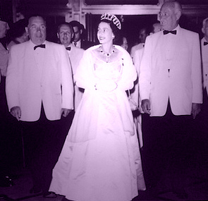Her Majesty at the Conrad Hilton flanked by Dick Daley, head of the Gestapo Poiice at the '68 Convention, and Connie Hilton, Don Draper's mentor and one-time pal