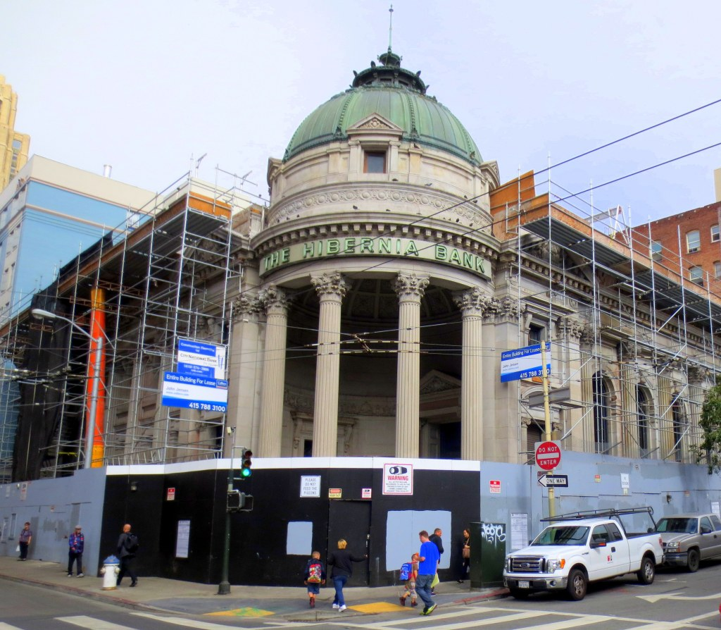 My first bank account was with Hibernia at the base of Jones Street. I chose it for its beaux art architecture. It closed three years later. It's sat empty except for a brief stint as a precinct station. They're always working on it but it never reopens.