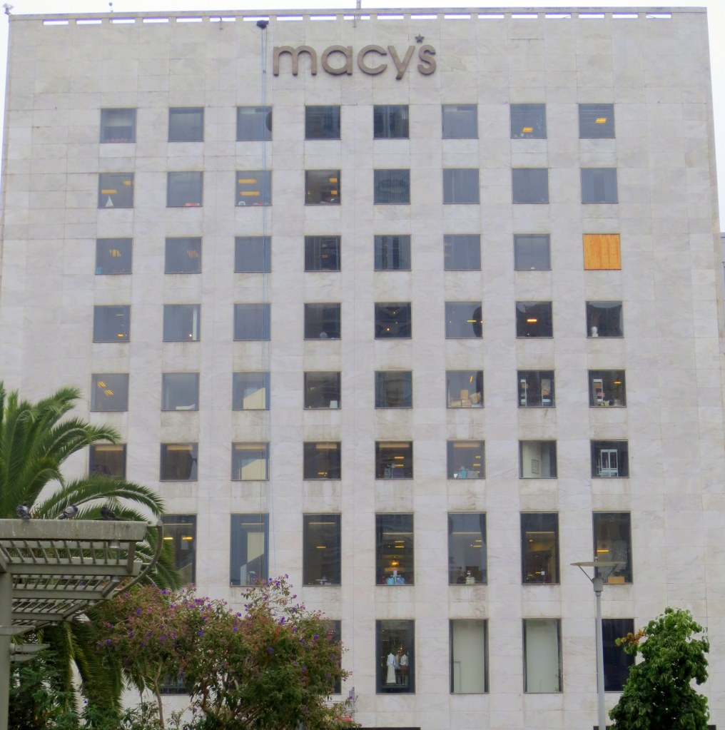 The moderne monolith on Union Square. When it was I. Magnin it had some of the haughtiest clerks in town. But the white marble facade was always gleaming. And there were no plywood windows. Now that it's Macy's it's yellowed, dirty and full of tourists.