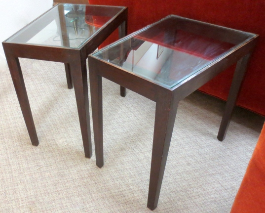 Pair of Walnut Wedge End Tables