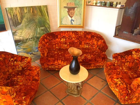 Feather patterned, silk screened velvet loveseat and chairs as shown exclusively at Ranch and Camp, 29 Palms, CA