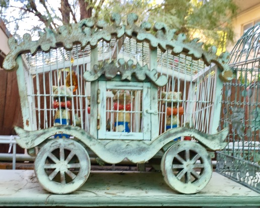 Mousey Riot. Retarded Russian mice in a circus wagon bird cage.