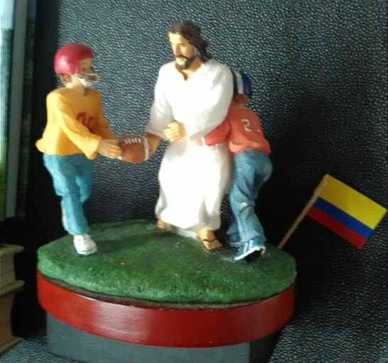 Jesus Up the Middle for the Score! Catholic propaganda to win the trust of 11 year old boys. One below-the-belt tackle at a time.